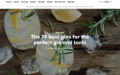 GQ names Coastal Citrus Gin as one of the best for a G&T